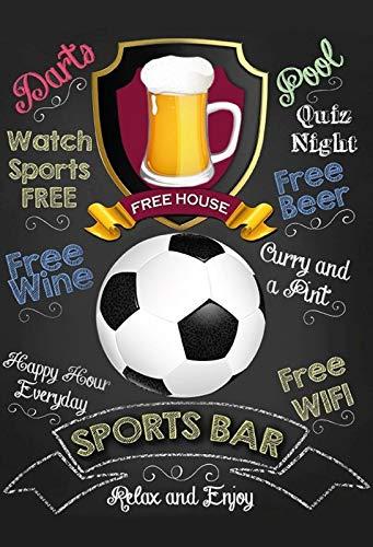 FS Bar Sports Bar Bier Fußball Blechschild Schild gewölbt Metal Sign 20 x 30 cm