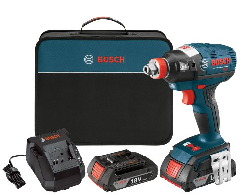 Bosch idh182-02 cordless impact driver - 18-volt lithium ion brushless tool kit with (2) 2. 0ah lithium ion batteries, charger and carrying case , blue