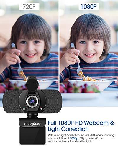 ELEGIANT Webcam Cámara Web 1080P HD PC Cámara de Ordenador con Micrófono y Cubierta de privacidad Cámara para Skype FaceTime Youtube Estudio en Línea Llamada PC para Juegos Ordenador Portátil