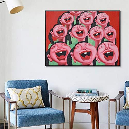 Póster de Arte Mural HD Laugh out Loud Smile Niños Cara Feliz Figura Humana Póster de Pared Arte para habitación de niños Fondo de TV Pintura de Lienzo Dormitorio
