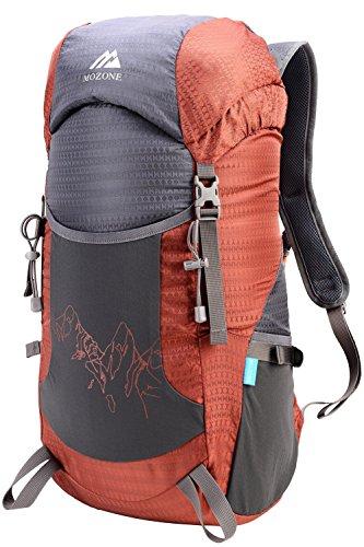 Mozone Large 45l Lightweight Travel Water Resistant Backpack/Foldable & Packable Hiking Daypack (Dark Orange)