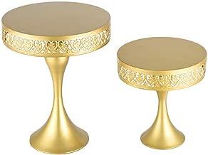 18K Gold Antique Metal Cake Stand, Round Cupcake Stands, Wedding Birthday Party Dessert Cupcake Pedestal/Display/Plate ((Set of 2) (mermaid- set of 2)
