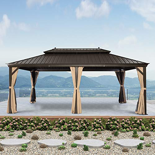 PURPLE LEAF 12' X 20' Outdoor Galvanized Steel Hardtop Double Roof Permanent Gazebo Canopy Aluminum Frame Patio Garden Gazebo with Curtains and Netting