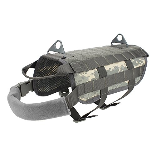 Outry Tactical Dog Training Harness MOLLE Vest with Pulling Handle, 4 for Both Small and Large Dogs - M - ACU