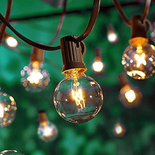Albrillo Lichterkette Glühbirnen Außen -18M Lichterkette mit G40 warmweißen 50 Birnen +10 Ersatzbirnen, Innen & Außenlampe für Garten, Terrasse, Balkon, IP44 wasserdicht, E12 Fassung