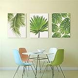 LINGBU Wandbilder 3 Tropische Bananenblatt Leinwand Malerei Frische Palmblätter Grünpflanze Poster...