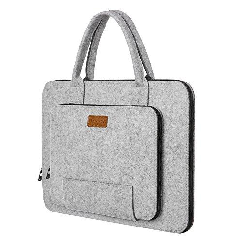 Ropch Laptoptasche 15,6 Zoll, Filz Laptophülle Sleeve Notebooktasche Schutzhülle Schutztasche für Acer / Asus / Dell / HP / Lenovo - Grau und Schwarz