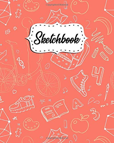 Sketchbook: Blank Sketch Pad and Journal with 100 White Pages, 8x10 - Art Notebook for Drawing, Sketching, Writing, Doodling and More - Cute Back To School Pattern For Girls
