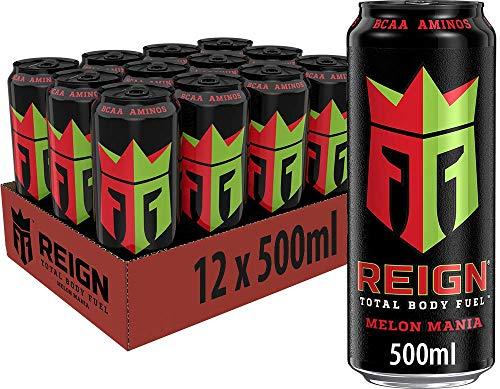 REIGN Melon Mania, 12x500 ml, Einweg-Dose, Performance Energy Drink mit BCAA, L-Arginin, B-Vitaminen und natürlichem Koffein
