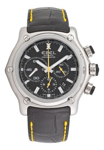 Ebel 1911 BTR Herren-Armbanduhr Chronograph Analog Automatik mit schwarzem Lederband 1215664