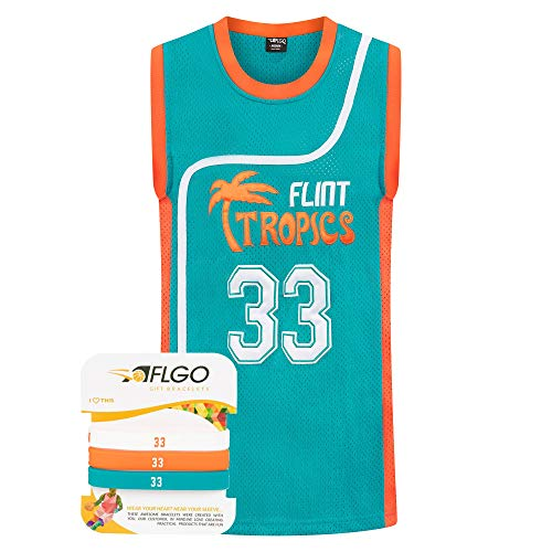AFLGO Jackie Moon #33 Flint Tropics Stitched Basketball Jersey (X-Large, Green)