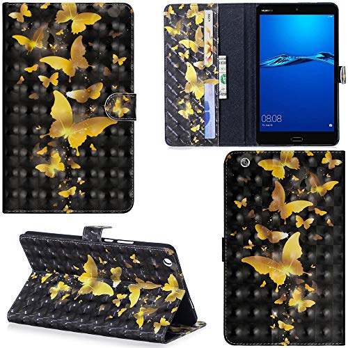 Ooboom Huawei MediaPad M3 Lite 8 8,4 Zoll Hülle 3D Flip PU Leder Schutzhülle Tasche Hülle Smart Cover Ständer mit Kartenfach Integrierten Kartensteckplätzen Magnetverschluss - Gold Schmetterling