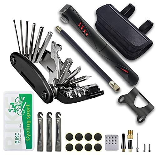 Akkem - Kit de reparación 16 en 1 para bicicleta, moto, herramientas multifunción de reparación con bolsa de almacenamiento para senderismo, ciclistas, reparación