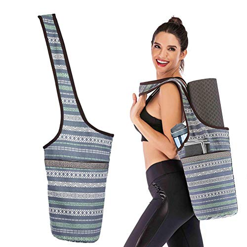 SNIDSA Yoga Matte Mode Yoga Matte Tasche Leinwand Yoga Tasche Große Reißverschluss Tasche Passend Die Meisten Größe Matten Yoga Matte Tragetasche Tragetuch