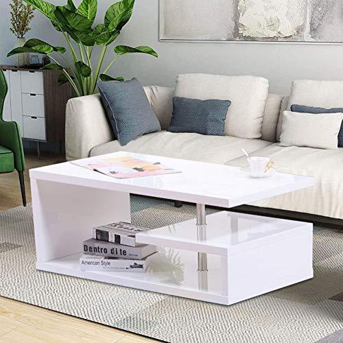 GOLDFAN Rechteckiger Couchtisch aus Holz Moderner Design Hochglanz Couchtisch Wohnzimmertisch, Weiß
