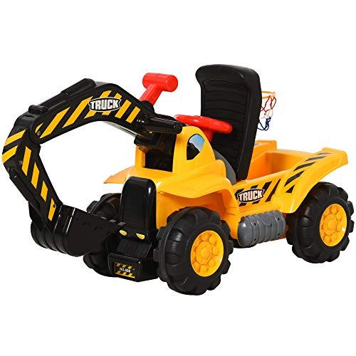 HOMCOM Kids Ride On Excavator Digger w/ Storage Basketball Net Steering NO POWER Wheel Vehicle Truck Toy