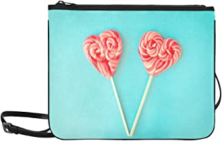 Valentines Day Lollipops On Blue Stock Photo Pattern Custom High-grade Nylon Slim Clutch Bag Cross-body Bag Shoulder Bag
