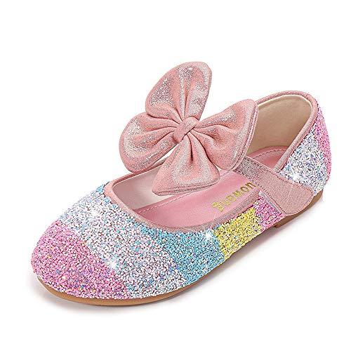 LanXi Mädchen Prinzessin Schuhe Pailletten Kristall Schuhe Sandalen Gelee Partei Glitzer Pumps Ballerina Karneval Verkleidung Kinder Fashing Kostüm Zubehör Schuhe(24 EU,Rosa)