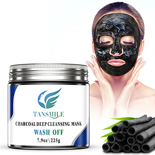 Charcoal Mud Mask Wash Off, Tansmile Deep Pore Cleansing Mask Activated Charcoal Black Facial Mask Wash Off Jelly Mask Black Charcoal Clay Mask for Hydrate, Exfoliation, Revitalizes Skin (7.9oz)