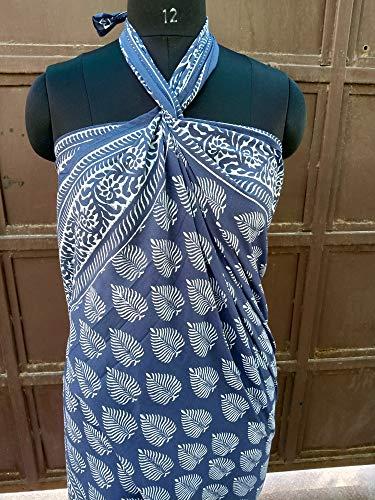 Indian Hand Block Print Sarong Cotton Pareo Women Sexy Bikini Cover Thro Cover Long Dupatta Size 44x72 Inch