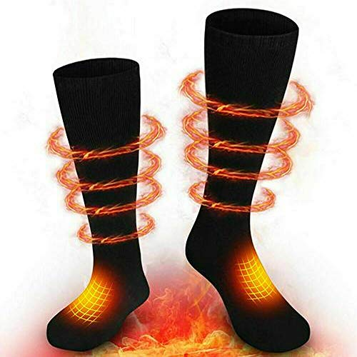 Comfomedic Battery Heated Socks for Men Women (Battery Included) - Rechargeable Washable Electric Thermal Warming Socks for Hunting Winter Skiing Outdoors - Battery Included (Black)