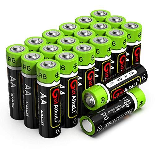 GutAlkaLi Batterien Micro Alkali, AA,LR6, 20 Stück für Kameras, Spielecontroller, Spielzeug und Uhren