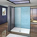 Mamparas de ducha Frontales Puerta fijo Cristal 6mm Antical Barra 45cm 85x185cm