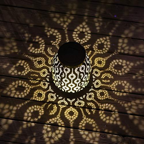 SFgift Solar-Laterne zum Aufhängen im Freien, wasserdicht, Retro-Globus, Metall, LED, Tischlaterne für dekorativen Zaun, Veranda, Garten, Terrasse, Hinterhof, Weg (1 Stück)