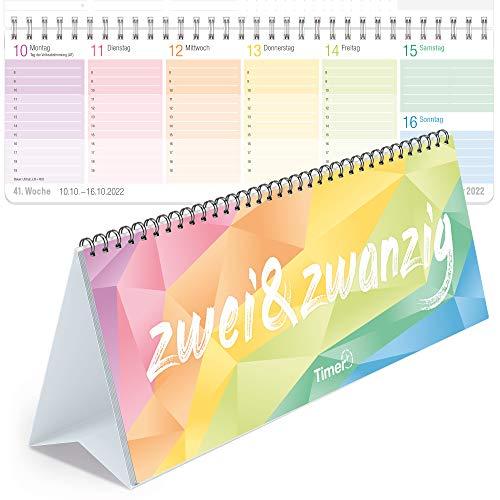 Rainbow Wochen-Tischkalender 2022 im Quer-Format zum Aufstellen | 1 Woche 2 Seiten | Wochenkalender 29,7 x 10,5 cm | Schreibtisch-Kalender mit Sprüchen | nachhaltig & klimaneutral