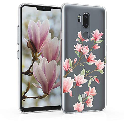 kwmobile LG G7 ThinQ/Fit/One Hülle - Handyhülle für LG G7 ThinQ/Fit/One - Handy Case in Magnolien Design Rosa Weiß Transparent