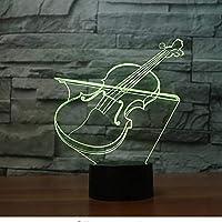 アクリルUSBノベルティ3DバイオリンシェイプテーブルランプLED7色雰囲気ナイトライト楽器ライトキッズギフトルームの装飾