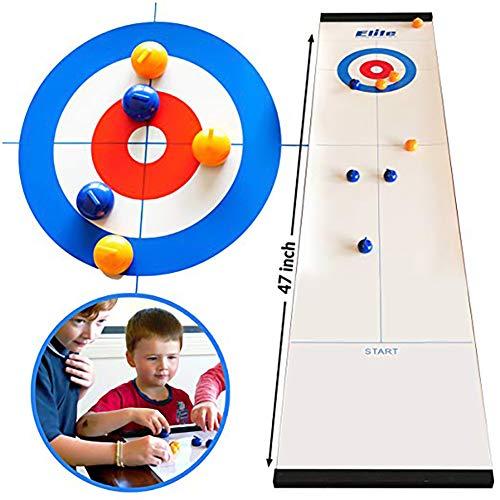 Tolyneil Gioco di Curling da Tavolo, Gioco da Tavolo di Curling Compatto più Divertente per Famiglie, Facile e Veloce da configurare, Mini Giochi da Tavolo per Adulti e Bambini