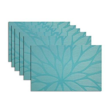 Tennove Placemats set of 6, Woven Vinyl Table Mats PVC Placemats for Kitchen Dining Table Decoration (Flower-A)