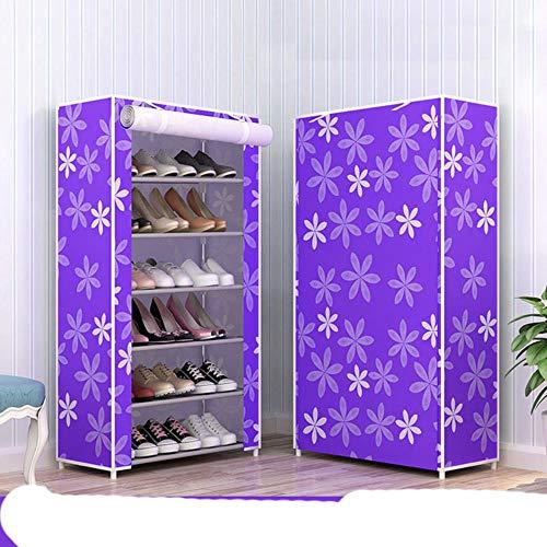 Nuevo a prueba de polvo hogar zapatero organizador múltiples capas zapatos estante soporte puerta zapatero S espacio hogar almacenamiento flor púrpura 6L