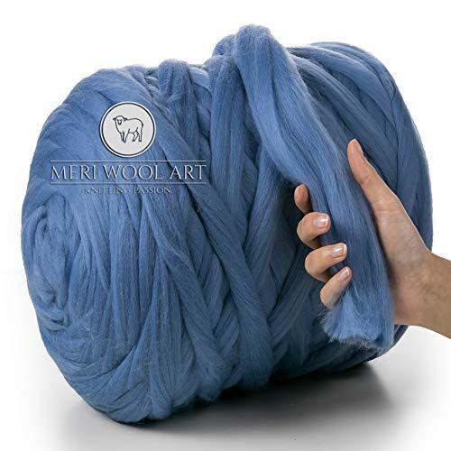 MeriWoolArt 100{a017bfc0c93584228bb1ade7b0aebc9cb95bb95408ecc8bd0966fdf058d15ea3} Lana Merino, Filato Grosso, Super Morbido 25 Micron Extra Spesso | 4-5 cm |, Maglia per Braccio, Coperta, tiro, Sciarpe, rollio, filatura, feltratura (Light Blue, 250g)