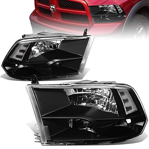 Pair of Black Housing Clear Corner Quad Headlight Lamps Replacement for Dodge Ram 4th Gen DS/DJ/D2 09-18