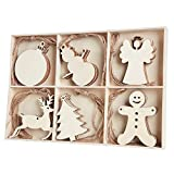 MACTING 30pcs Unfinished Wood Christmas Ornaments with Holes - Angel, Deer, Ball, Doll, Snowman,...