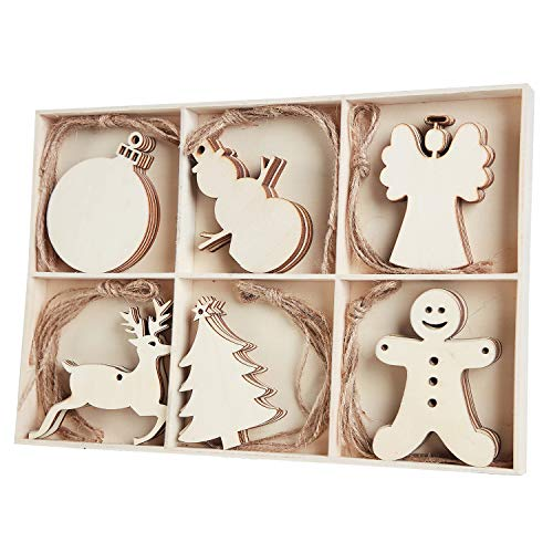 MACTING 30pcs Unfinished Wood Christmas Ornaments with Holes - Angel, Deer, Ball, Doll, Snowman, Christmas Tree Cutouts Tag Tree Hanging Decorations ¡