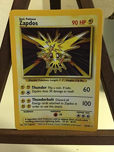 Pokemon Base Set Holofoil Card #16/102 Zapdos