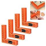 Housolution Piastre di Posizionamento di 90 Gradi, 4 Pollici Piazze Morsetto di Posizionamento Utensile per Falegname, Morsetto ad Angolo Retto Tipo L in Plastica, 4 PEZZI - Arancione
