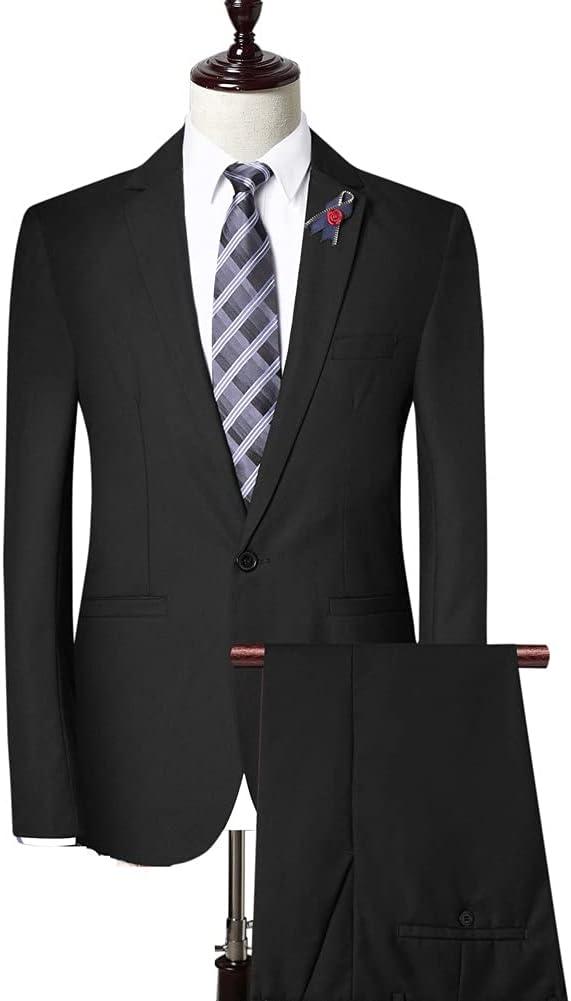 SSMDYLYM (Jacket + Pants + Vest Men Suit Pant Suit Solid Color Men's Suit Jacket Slim Shape (Color : Black, Size : 3XL 74-80kg)