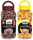 Swad Choco Flakes Corn Flakes Combo Of 2 Jars (Wholegrain Chocolate Breakfast Cereal Kokos Chocos kidsss) Jar 620 G