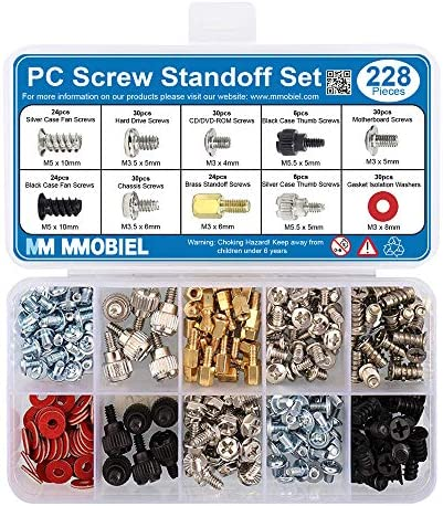 MMOBIEL 228Pcs PC Screw Standoff Set Kit for Computer Case Hard Drive Motherboard Cooler Fan product image