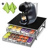 Porte-Capsules Nespresso avec 2 Chiffons de Nettoyage Supplémentaires - Capacité de 72 PCS,Support Capsules Nespresso pour Machine à Café Rangement de Capsules Café Masthome