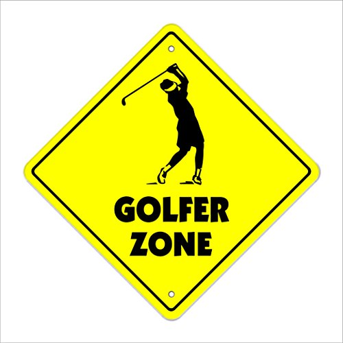 "Golfer Crossing Sign Zone Xing | Indoor/Outdoor | 12"" New Golf Clubs Balls Bag Sport Love Play Country Club"