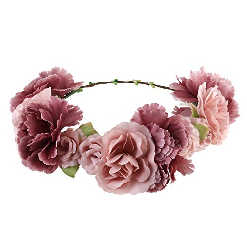 ULTNICE - Diadema de flores para dama de honor, corona de flores boho, guirnalda floral para el pelo, accesorios para bodas, fiestas creativas.