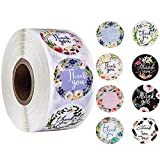 2 Inches Thank You Labels Stickers 500 Labels Per Roll 8 Designs Floral Seal Sticker Roll Round Labels for Gifts Bags Envelopes Small Business and Online Sales ETC