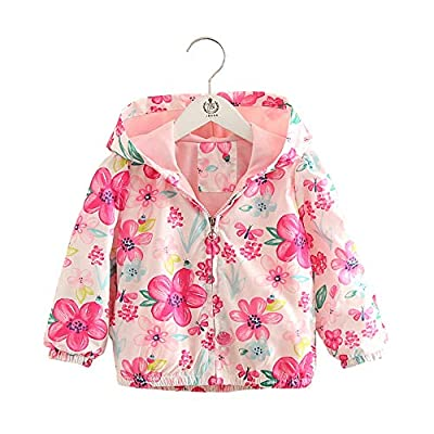 Bibicola Toddler Boys Girls Jacket Hooded Trench Flower Lightweight Kids Coats Windbreaker Outdoor?Pink 3T?