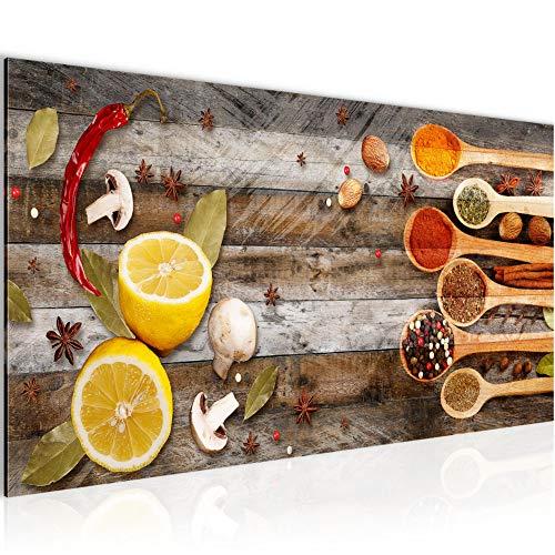 Bilder Küche Gewürze Wandbild 100 x 40 cm Vlies - Leinwand Bild XXL Format Wandbilder Wohnzimmer Wohnung Deko Kunstdrucke Braun 1 Teilig - MADE IN GERMANY - Fertig zum Aufhängen 019612b