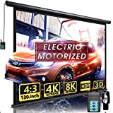 Aoxun 120' Motorized Projector Screen - Indoor and Outdoor Movies Screen 120 inch Electric 4:3 Projector Screen W/Remote Control